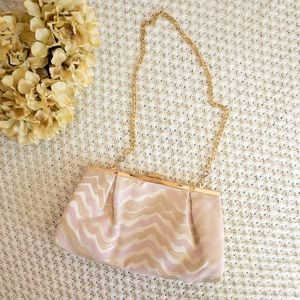 Lilly Pulitzer pink and gold clutch purse
